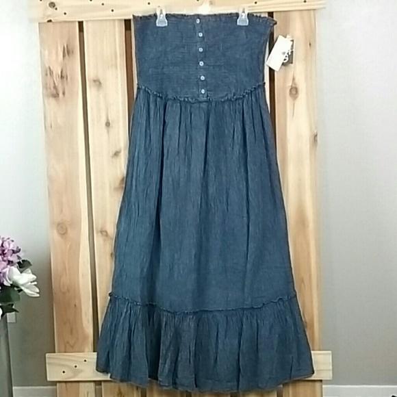 Mlle Gabrielle Plus Size Denim Maxi Dress NWT NWT